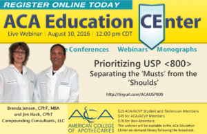 "WEBINAR: Prioritizing USP 800: Separating the ""Musts"" from the ""Shoulds"""